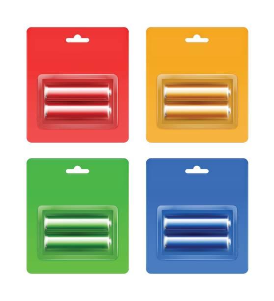 stockillustraties, clipart, cartoons en iconen met set gekleurde alkaline aa batterijen in blister - doordrukstrip