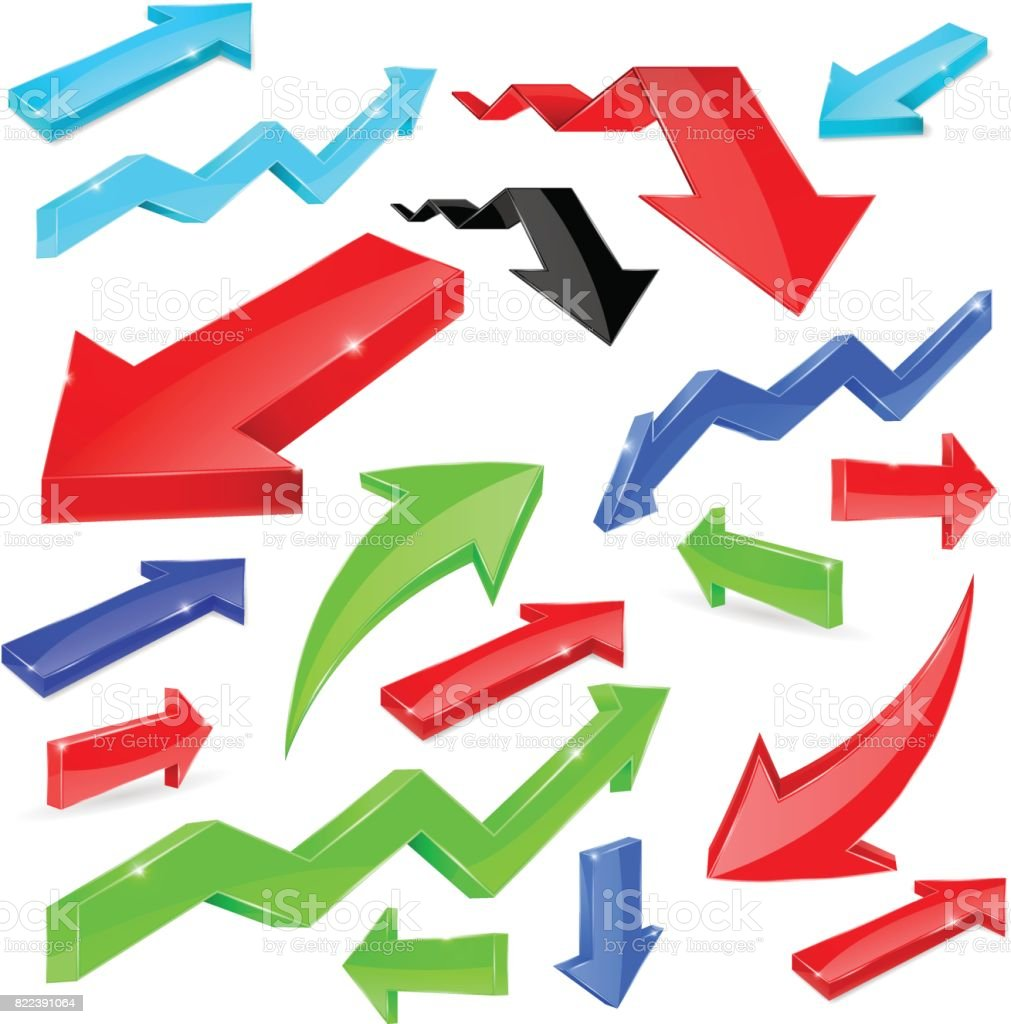 Set of colored arrows. Shiny 3d icons vector art illustration