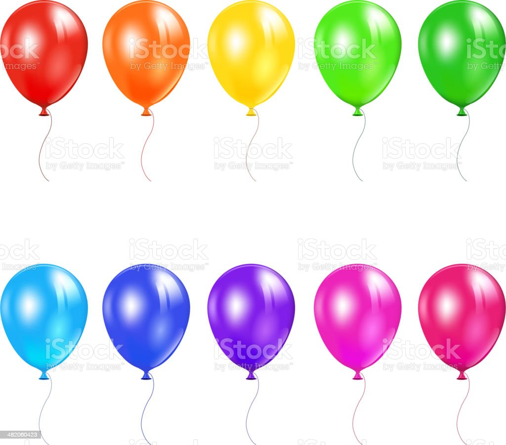 Set of colored balloons vector art illustration