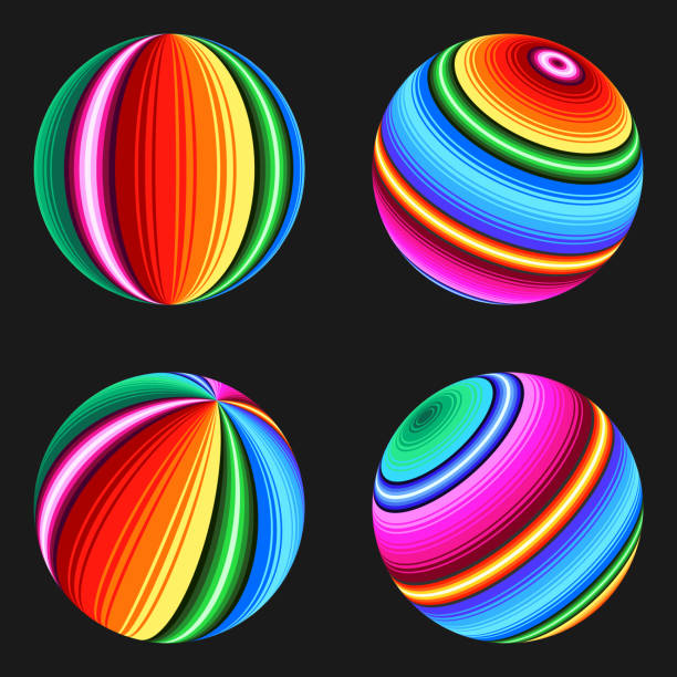 Set of colored balls in serape design with traditional Mexican colors. Set of colored balls in serape design with traditional Mexican colors. serape stock illustrations