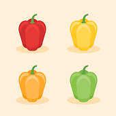 Set of colored bell peppers flat style icon isolated on background. Vector illustration.