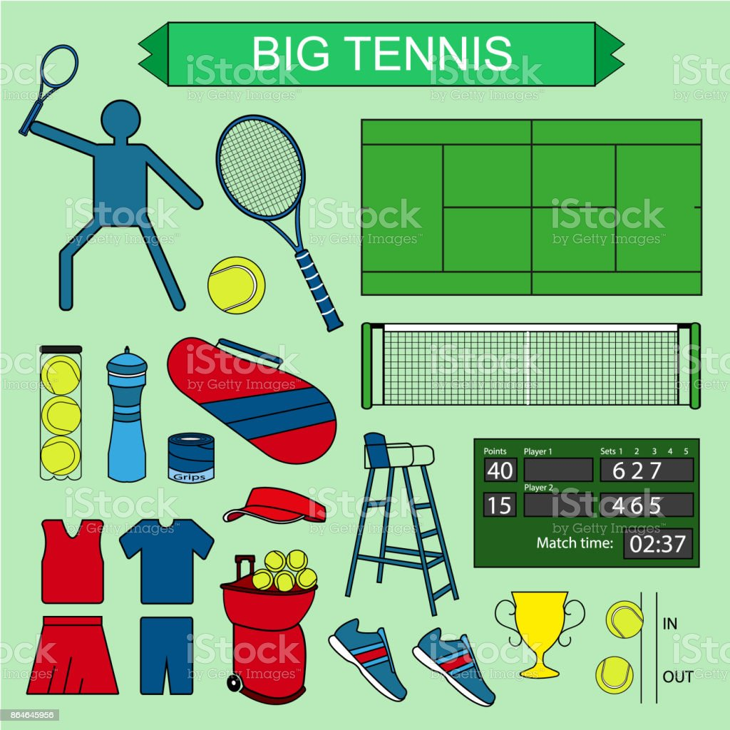 Set of colored big tennis icons. vector art illustration