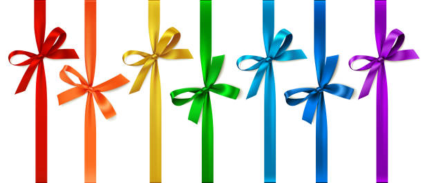 Set of colored bow with vertical ribbon. Vector bow isolated on white tied bow stock illustrations