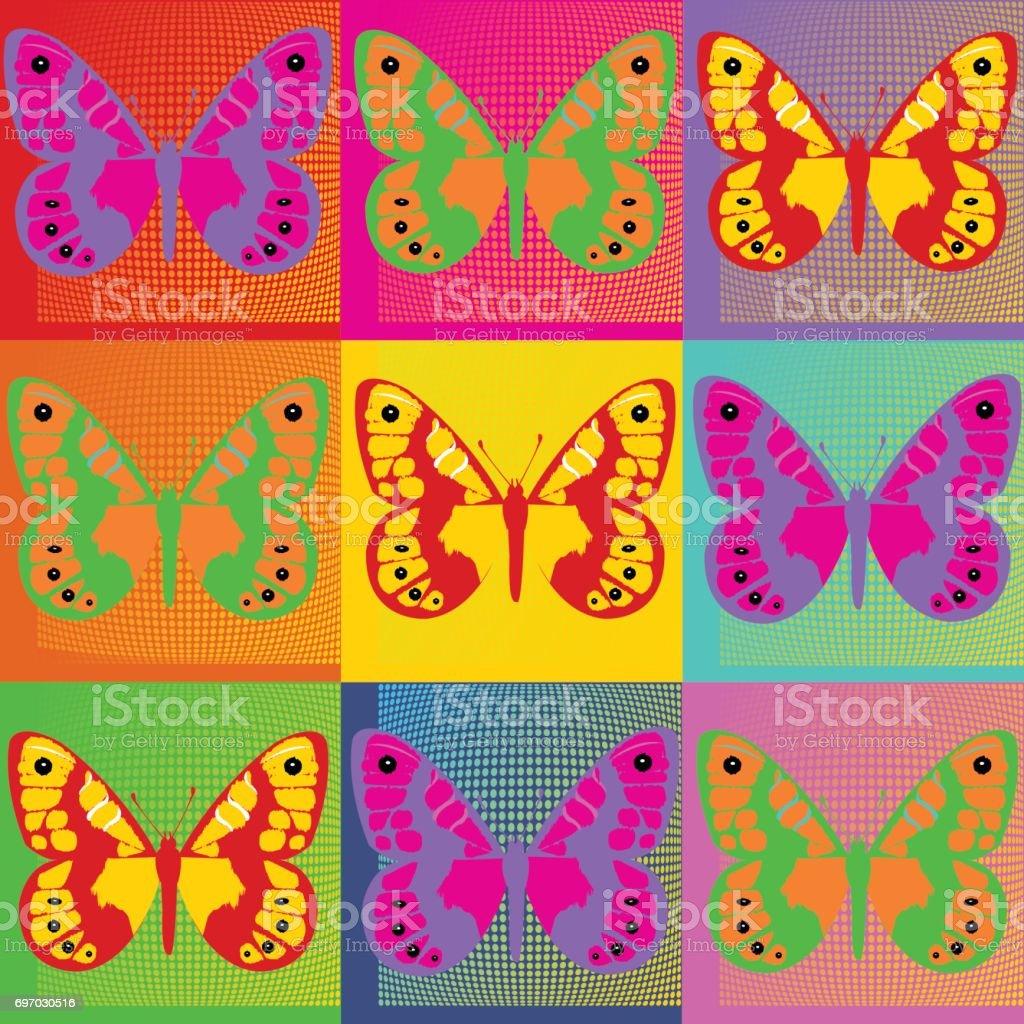 Reihe Von Bunten Schmetterlingen Popart Andy Warhol Stock Vektor Art