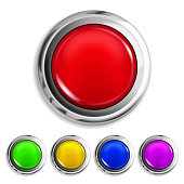 Set of realistic colored buttons with metallic borders. Vector illustrations. EPS10, JPG and AI10 are available