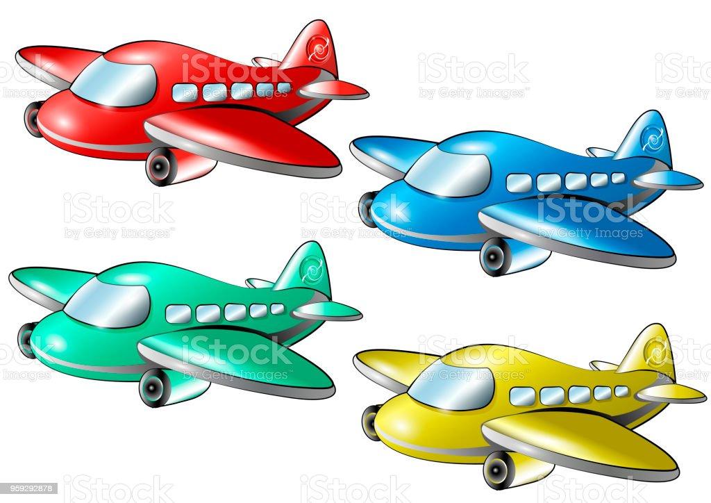 Ilustración de Juego De Aviones De Colores Dibujos Animados y más ...
