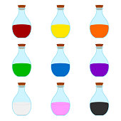 Set of Colored Cartoon Magic Elixir Flask isolated on white background. Wizard or Witch Items. Vector illustration for Your Design, Game, Card, Web.