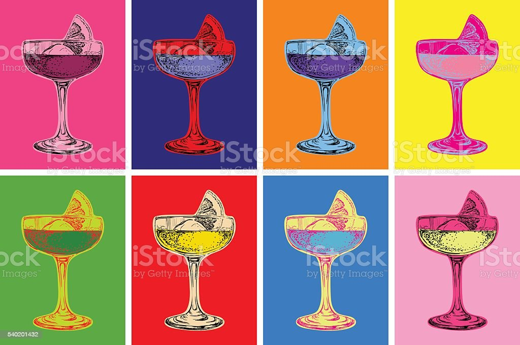Set of Colored Cocktails Vector Illustration vector art illustration