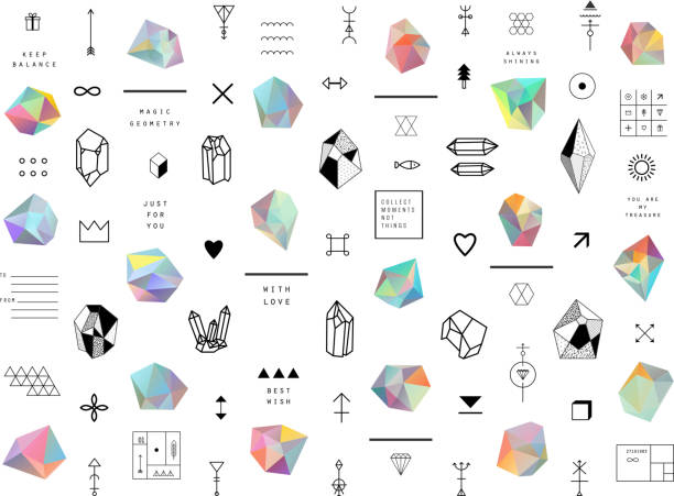 Set of colored crystals in polygon style with geometric shapes. vector art illustration