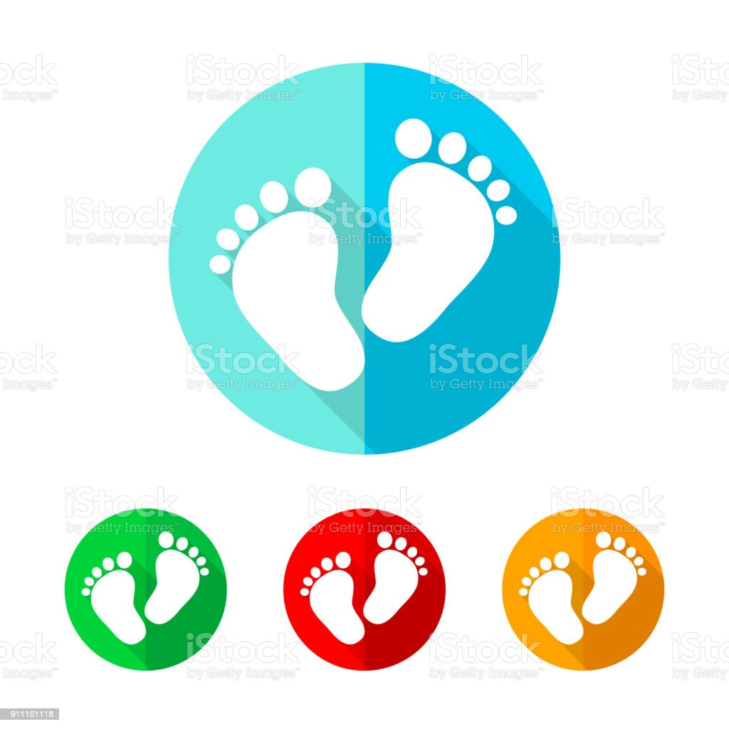 Set of colored footprint icons. Vector illustration. vector art illustration