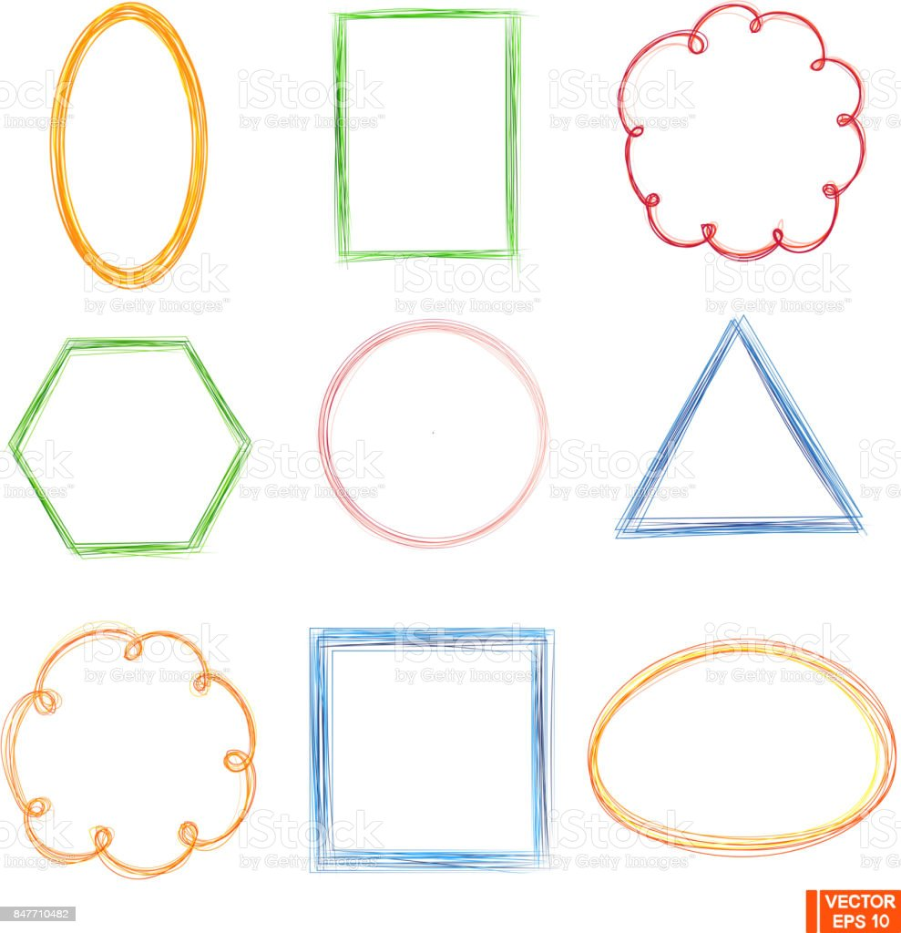 Set Of Colored Frames Doodle Stock Vector Art & More Images of ...