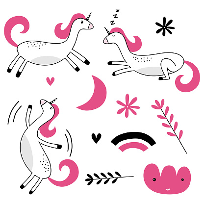 Set of colored funny animals with sleeping moon, cloud, star and unicorn dreams in scandinavian style. Hand drawn colored set. For fabric, apparel, T-shirt, wrapping, wallpaper, poster. Vector