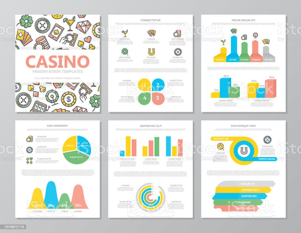 Set of colored gambling and casino elements for multipurpose a4 presentation template slides with graphs and charts. Leaflet, corporate report, marketing, advertising, book cover design. vector art illustration