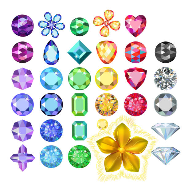 set of colored gems and golden metal pattern flower - gemstone stock illustrations, clip art, cartoons, & icons