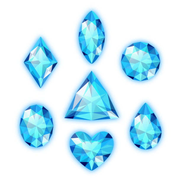 set of colored gems - gemstone stock illustrations, clip art, cartoons, & icons