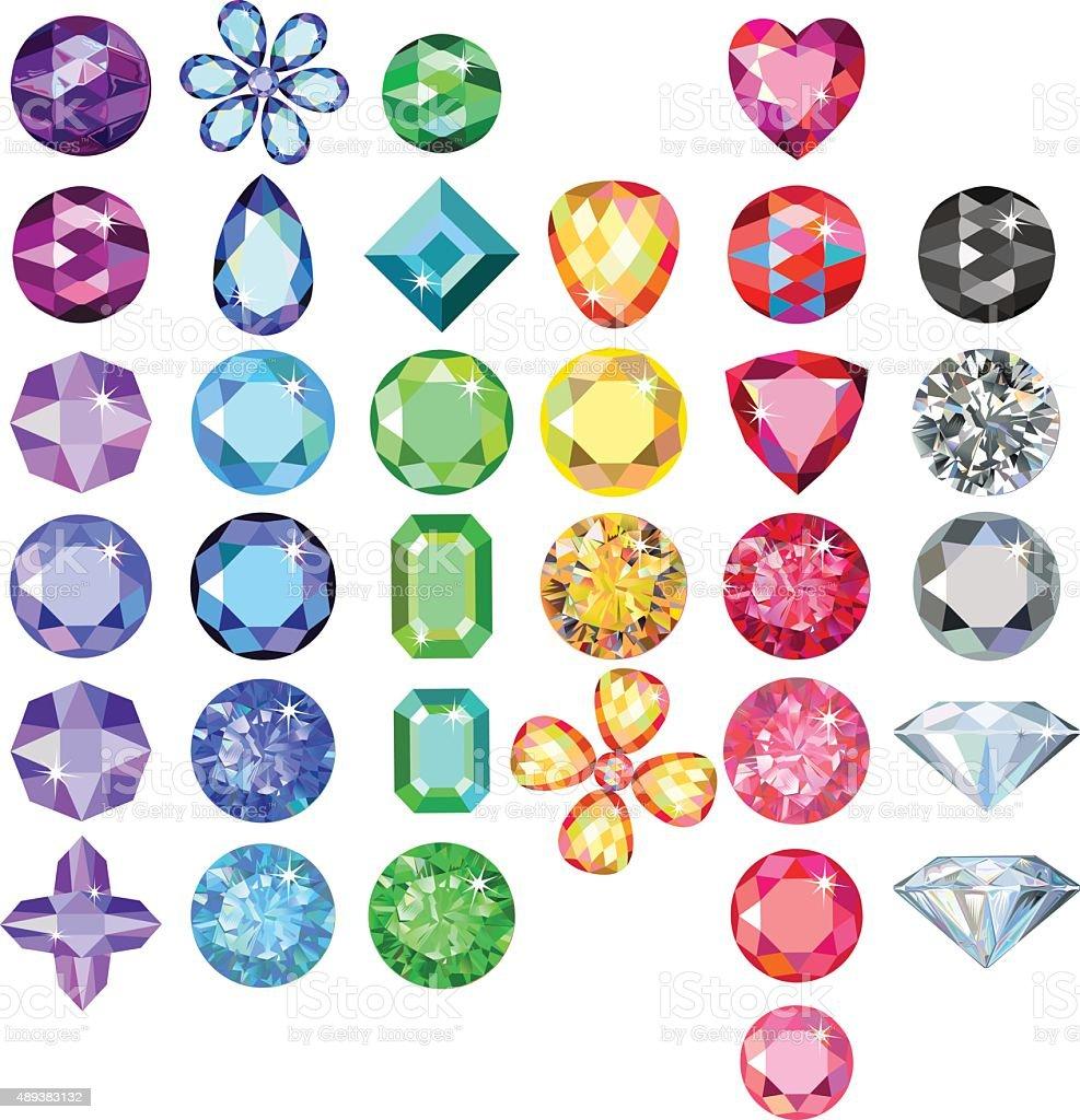 Set of colored gems vector art illustration
