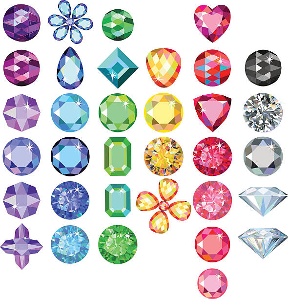 stockillustraties, clipart, cartoons en iconen met set of colored gems - edelsteen