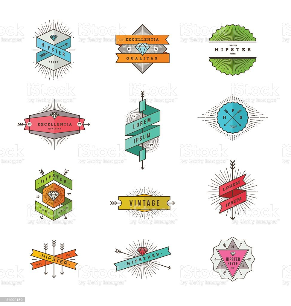 Satz von farbigen hipster-Linie Beschilderung und Embleme – Vektorgrafik