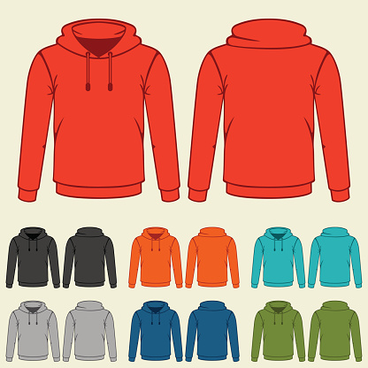 Set of colored hoodies templates for men