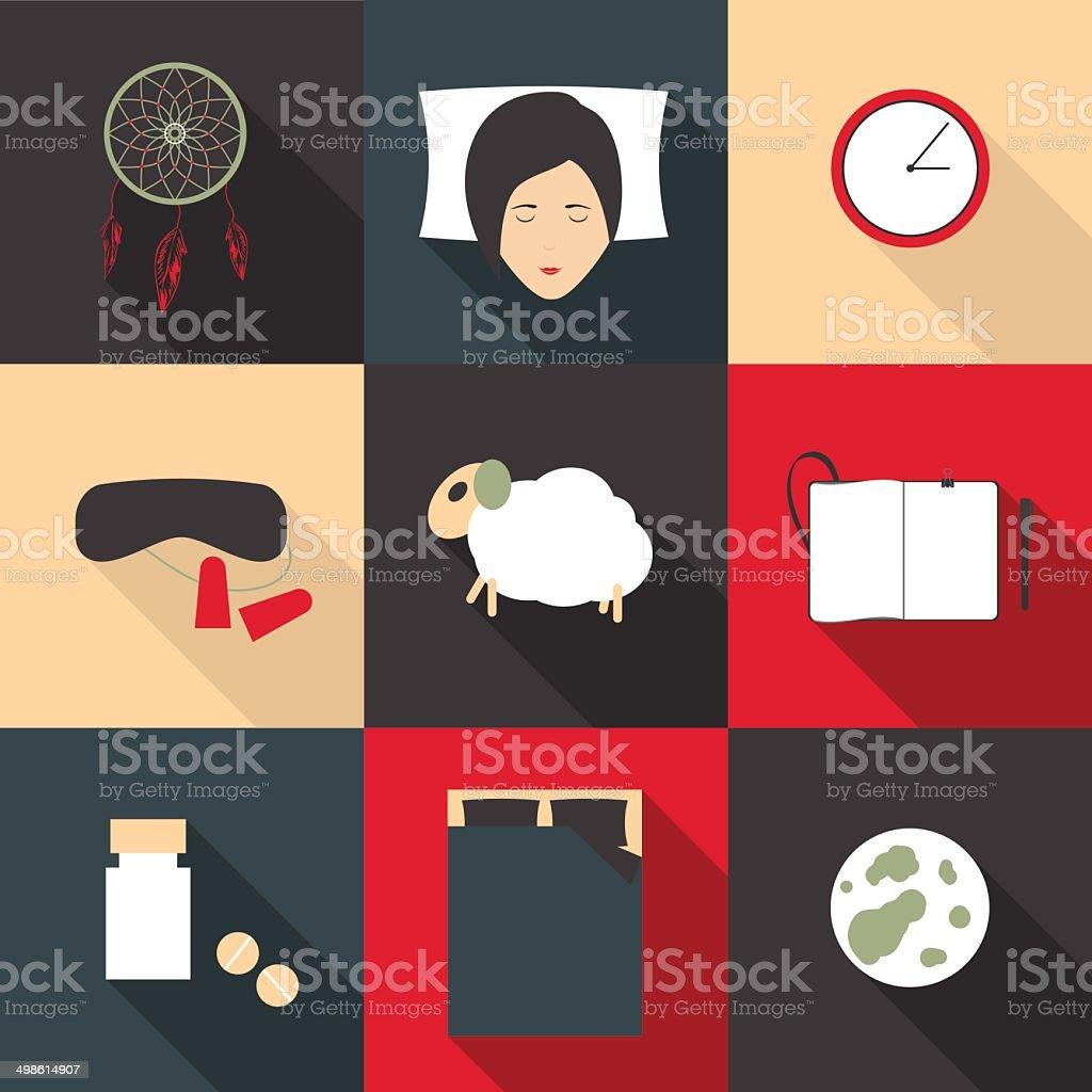 Conjunto de iconos de color de sueño reparador en un estilo plano - ilustración de arte vectorial