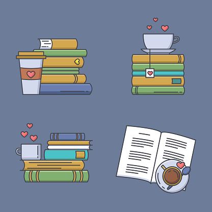 Set of colored icons for book fans.