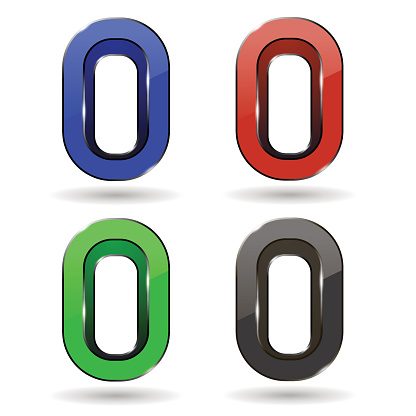 Set of Colored Icons. Letter o