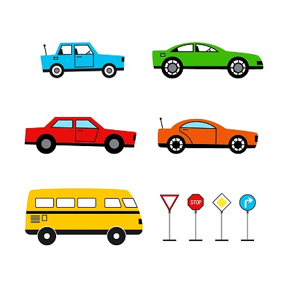 Set of colored icons of children's toy cars on an isolated white background