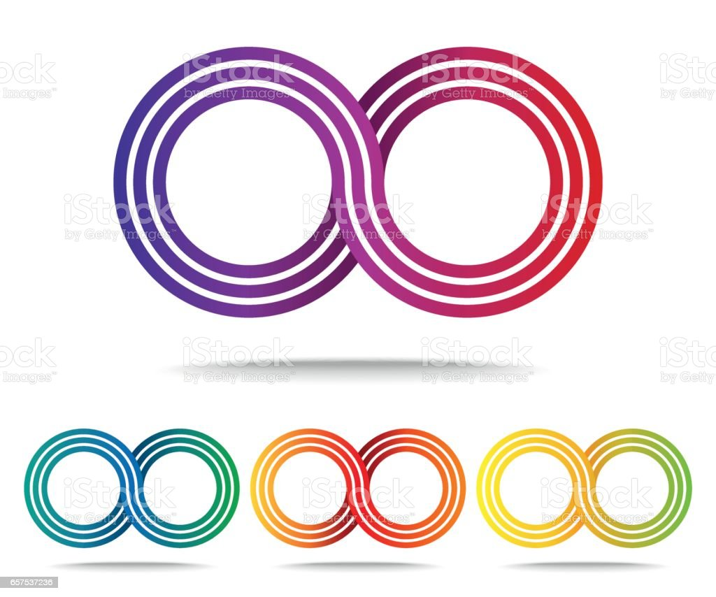 Set of colored Infinity signs isolated on white vector art illustration