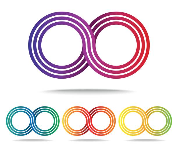 set of colored infinity signs isolated on white - repetition stock illustrations, clip art, cartoons, & icons