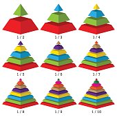 Set of colored isometry pyramid charts. Business data, colorful elements