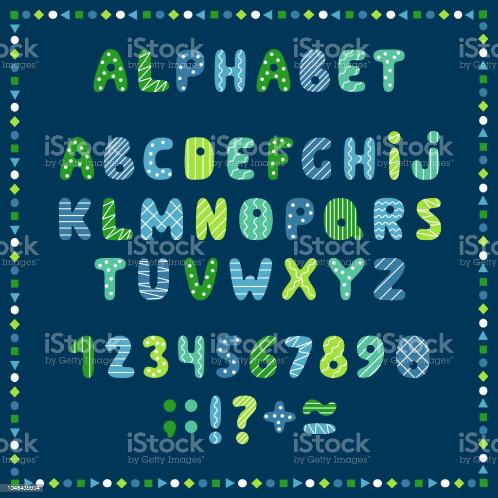Set Of Colored Letters And Numbers Childrens Alphabet Font For Kids ...