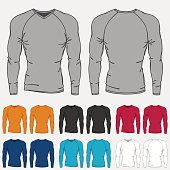 Set of colored long sleeve shirts templates for men.