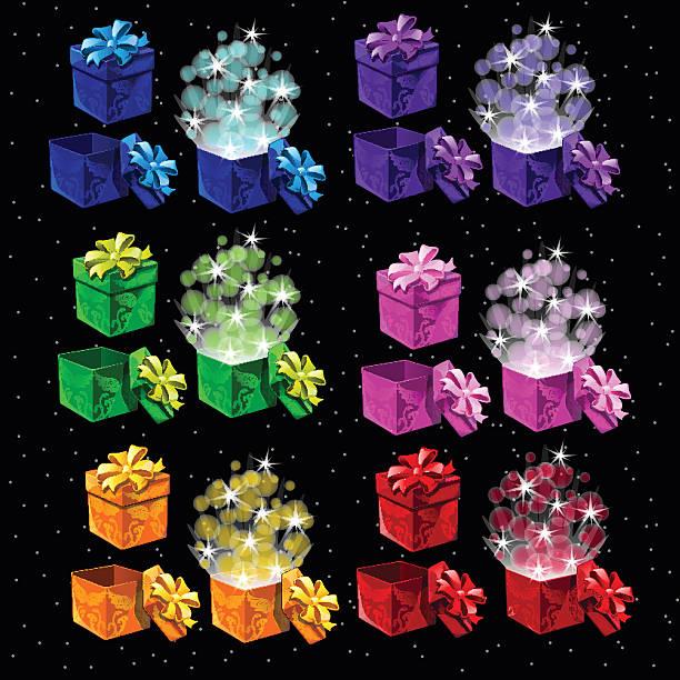 satz von farbigen magic kontrollkästchen für alle anlässe - entdeckungskiste stock-grafiken, -clipart, -cartoons und -symbole