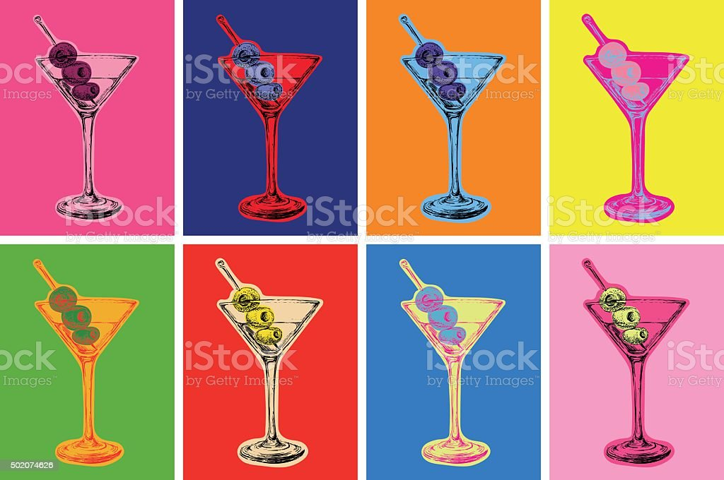 Set of Colored Martini Cocktails with Olives Vector Illustration vector art illustration