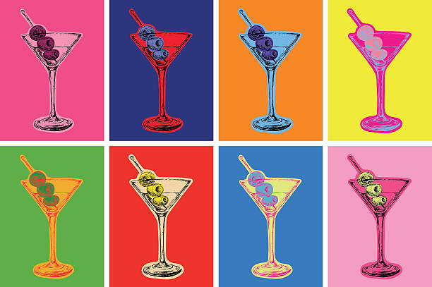 set of colored martini cocktails with olives vector illustration - alcohol drink patterns stock illustrations