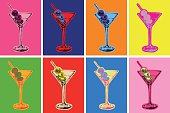Set of Colored Martini Cocktails with Olives Vector Illustration