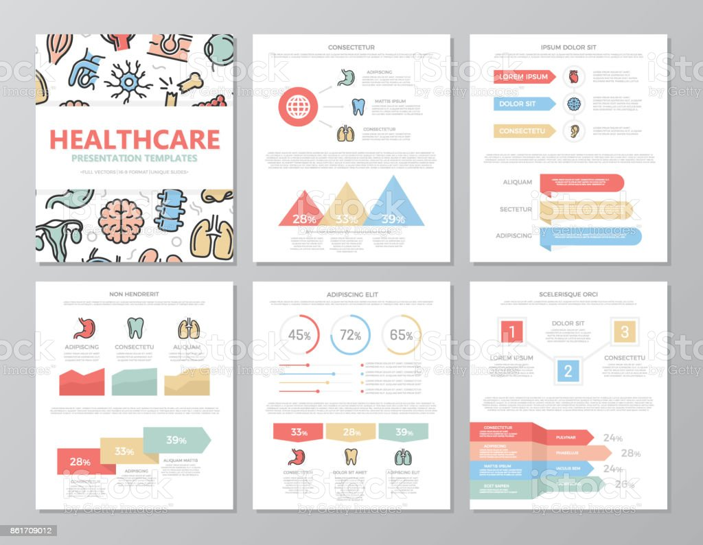 Set of colored medical and healthcare elements for multipurpose a4 presentation template slides with graphs and charts. Leaflet, corporate report, marketing, advertising, annual report, book cover design. vector art illustration