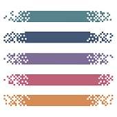 Set of colored modern pixel banners for headers