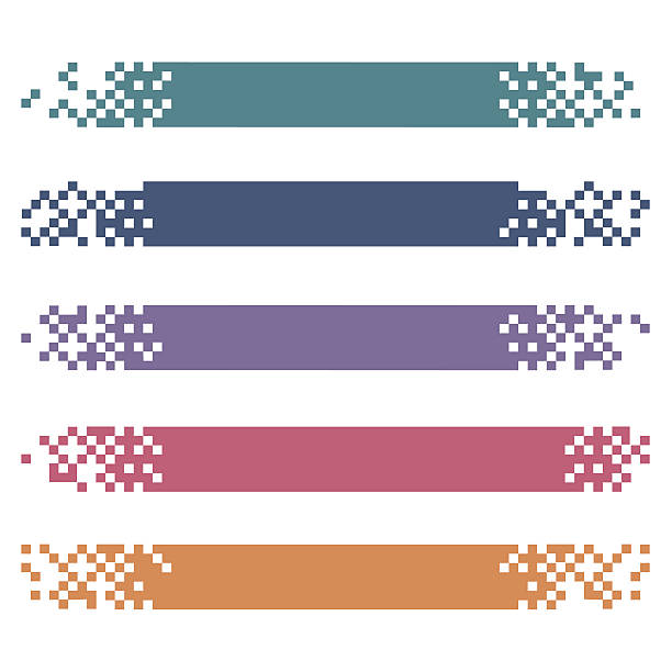 Set of colored modern pixel banners for headers Vector banners ready for your text or design pixelated stock illustrations