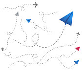 set of colored paper airplanes with dotted flight path. Plane line path. dotted trail and fly direction. Airplane silhouette. Vector illustration.