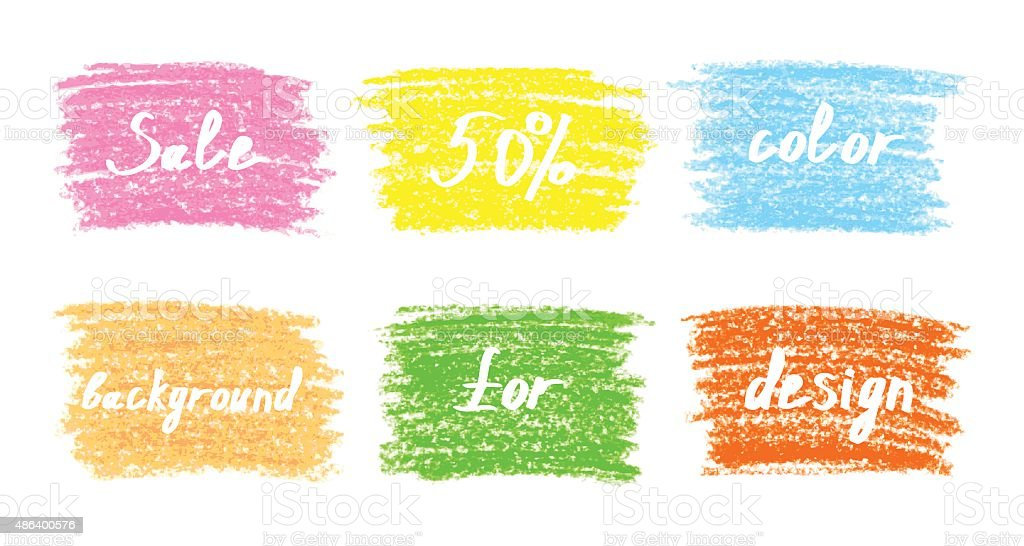 Set of colored pastel chalk design elements vector art illustration