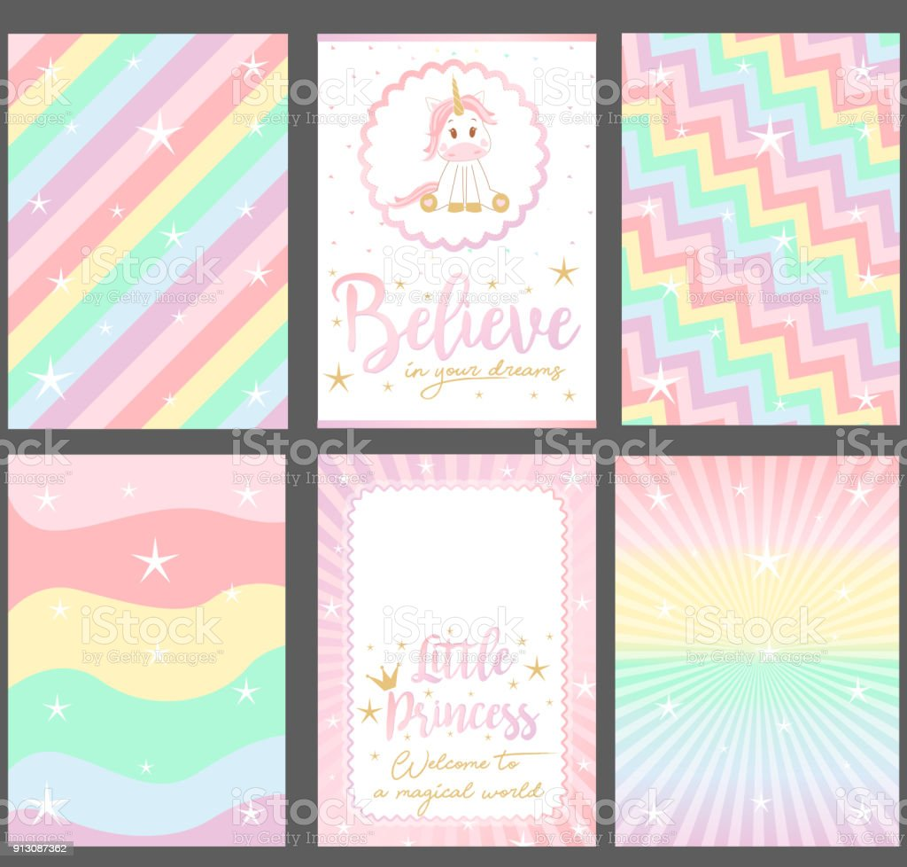 Set of colored pastel vector cards for party invitation. vector art illustration