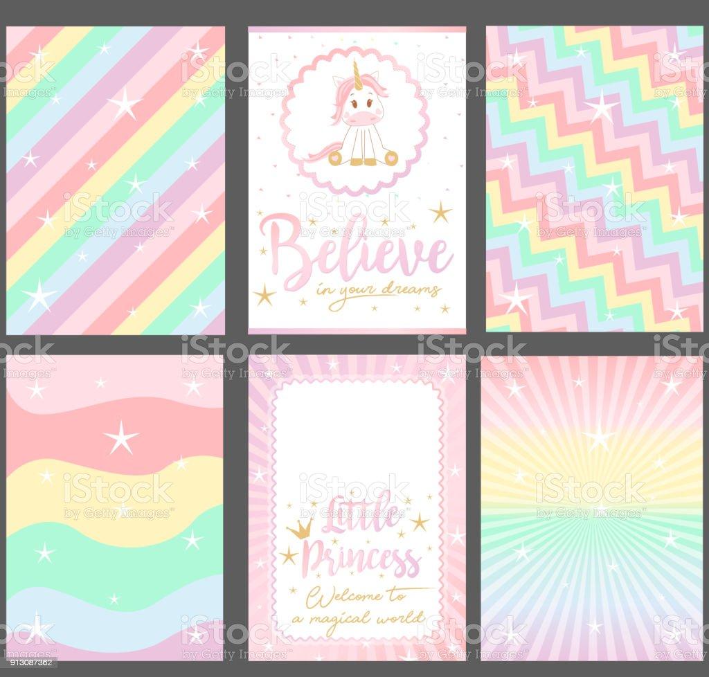 パーティの招待状の色のパステル カラー ベクトル カードのセットです。 ベクターアートイラスト