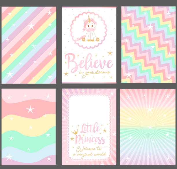 set of colored pastel vector cards for party invitation. - cute stock illustrations