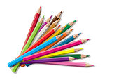 Set of colored pencil collection -  isolated vector illustration colorful pencils on white background.