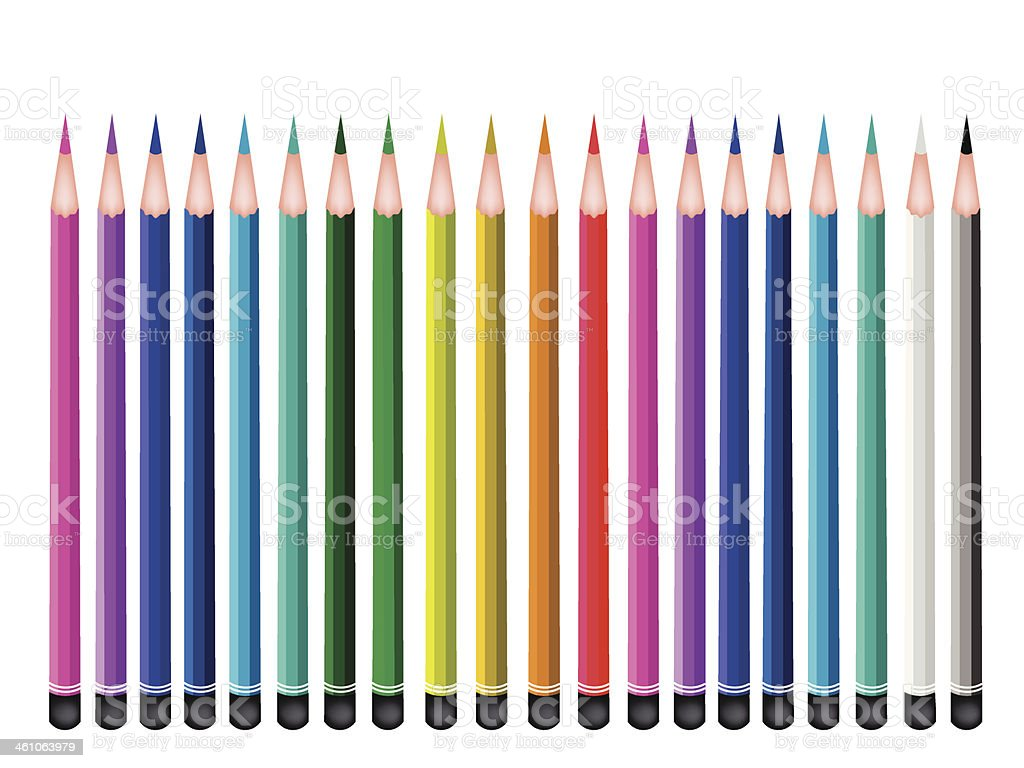Set of Colored Pencils on White Background vector art illustration