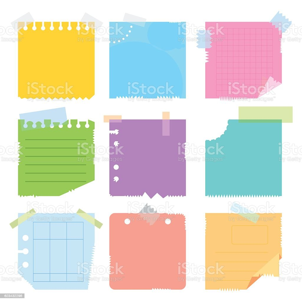 set of colored pieces paper vector art illustration