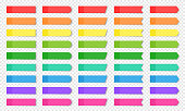 Colored realistic sticky notes isolated. Set of vector paper bookmarks of different shapes - rectangle, arrow, flag. Collection of red, orange, yellow, green, blue and purple post notes on background