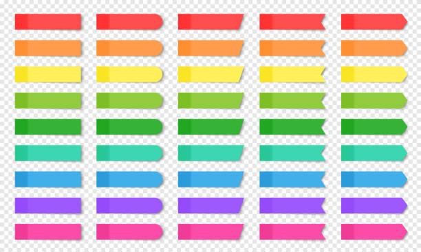 satz von farbigen realistischen haftnotizen isoliert. - klebezettel stock-grafiken, -clipart, -cartoons und -symbole