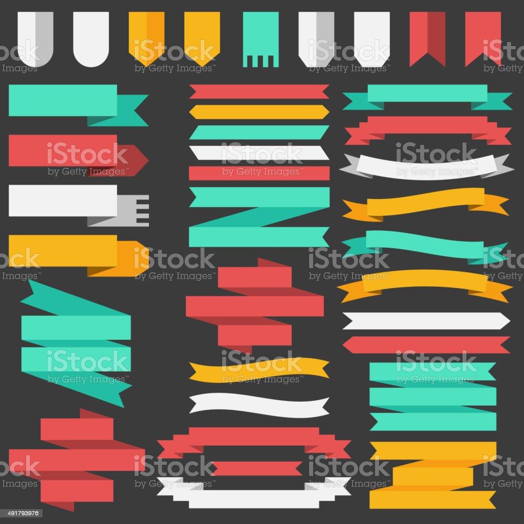 Conjunto de fitas coloridas e elementos para conceito de ilustração - ilustração de arte em vetor
